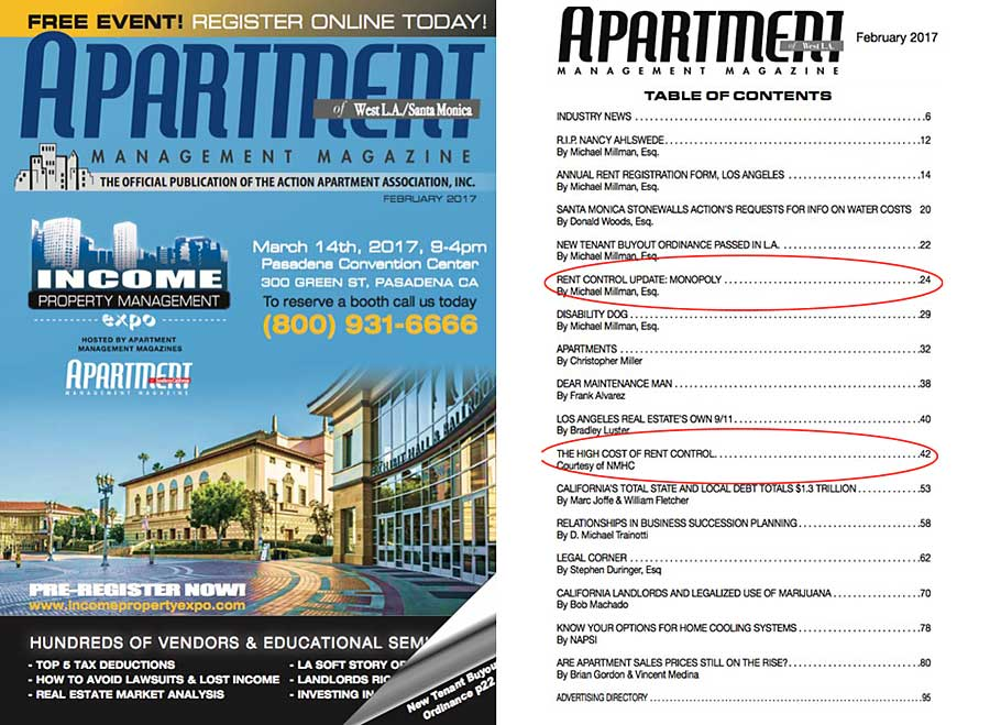 Apartment Management Magazine February table of contents