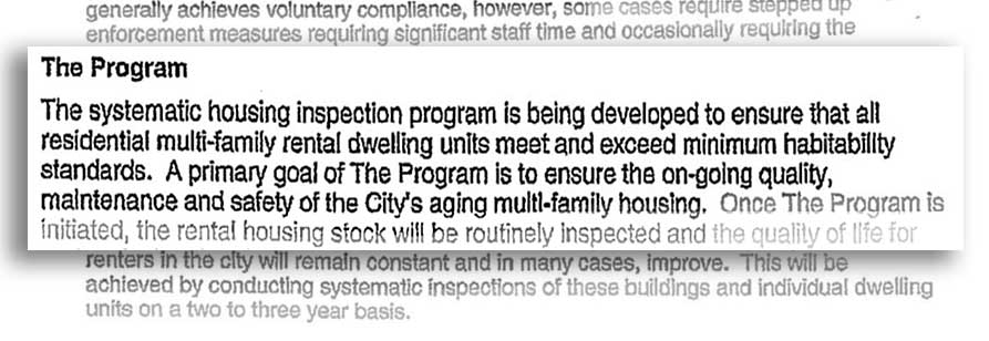Inspection program memo excerpt November 2006