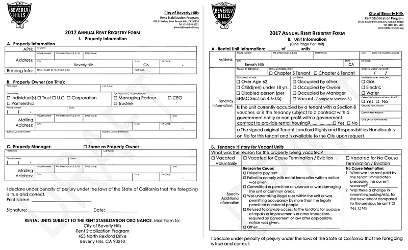 The registry form showing the requested information.