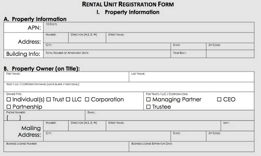 registration form: property information