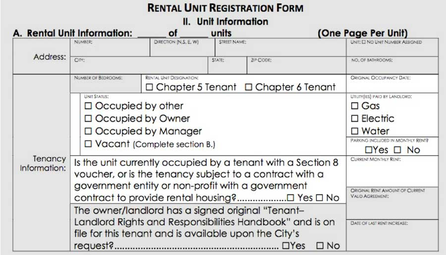 registration form: tenancy information