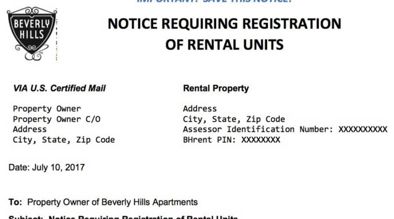 Rental unit registry registration notice