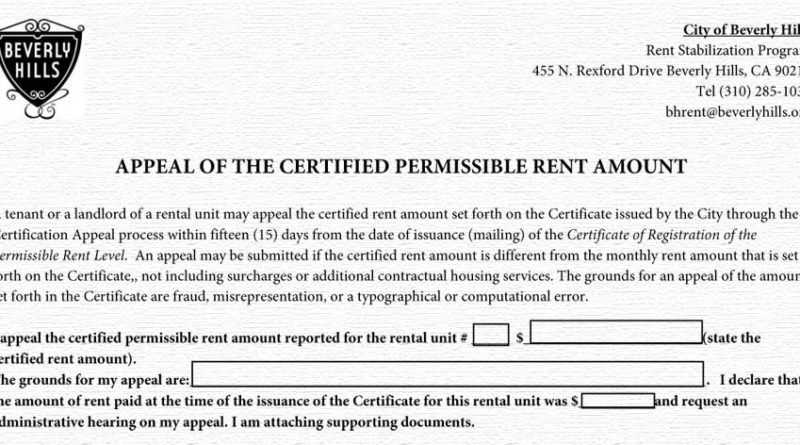 Rent Appeal form