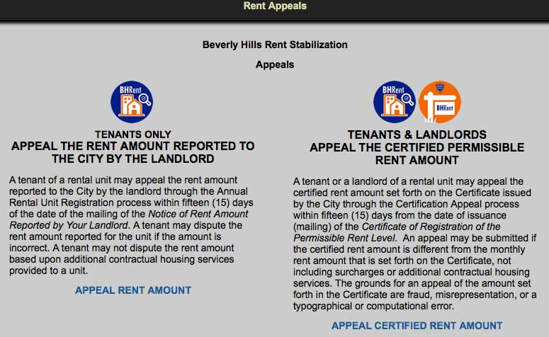 Rent Appeal online form