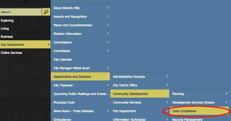 Community development website menu