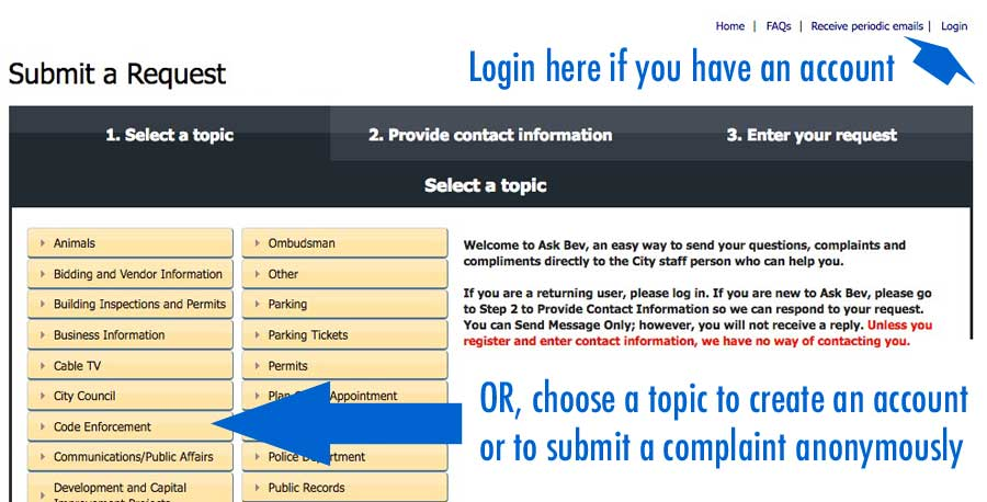 Comcate screen 1: choose a topic