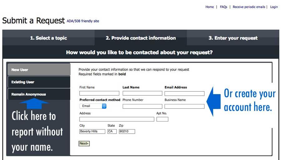 Comcate screen 3: login or register