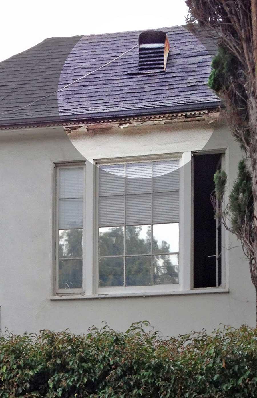 200 South Reeves peeling paint under eave