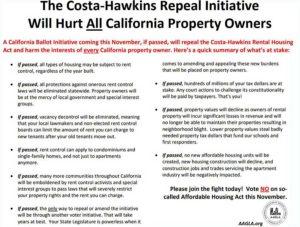 AAGLA opposes Costa Hawkins repeal advertisement