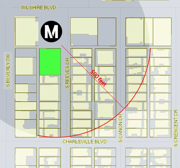 Wilshire-Rodeo station impact map