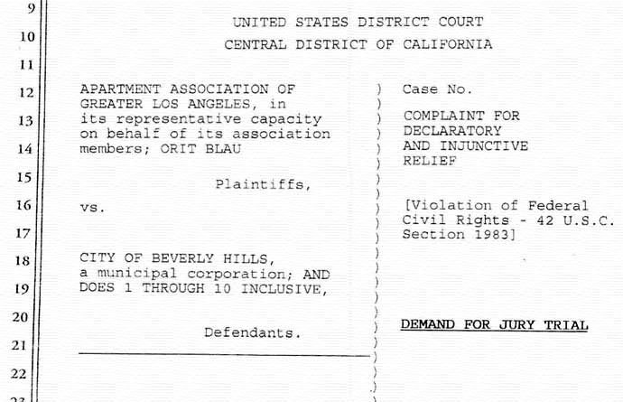 AAGLA vs Beverly Hills federal complaint