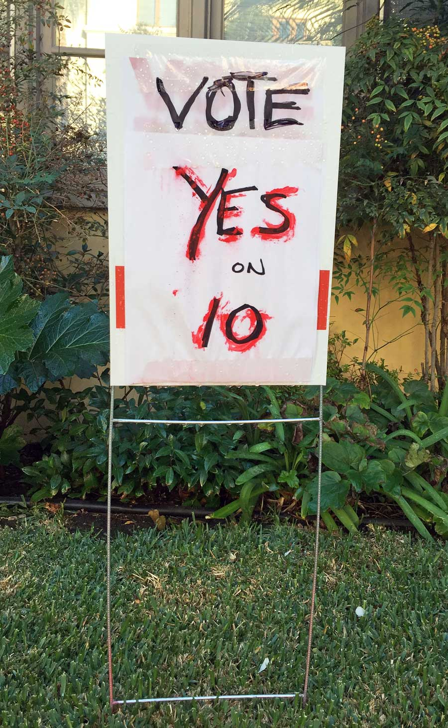 Yes-on-10 sign