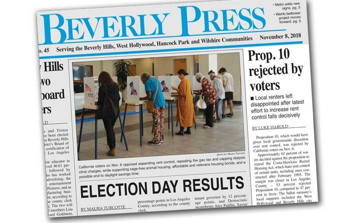 Prop 10 defeat on Beverly Press cover