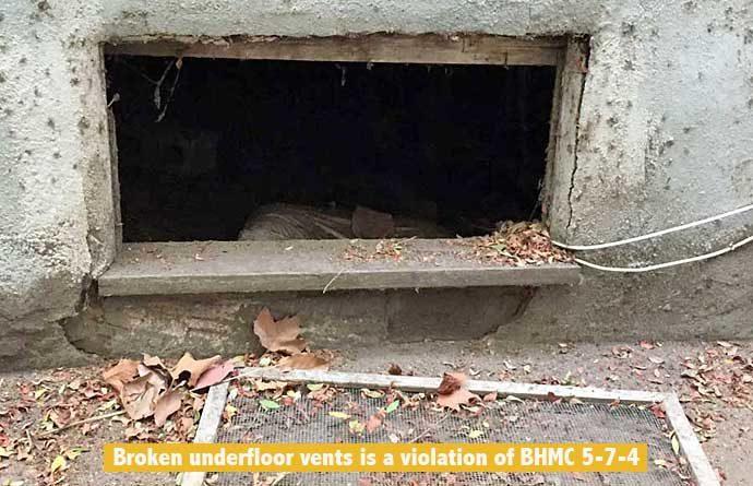 Broken vents at 126 N Almont
