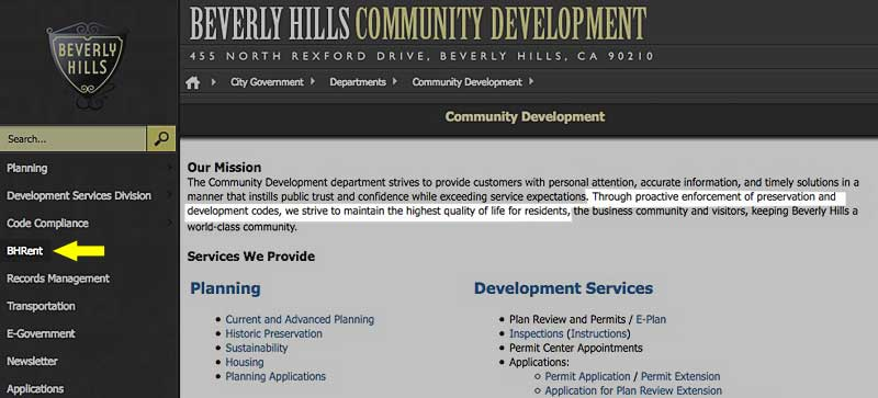 Community Development Department website screenshot