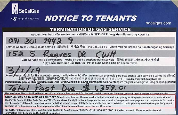 SoCal Gas shutoff notice at 152 Reeves