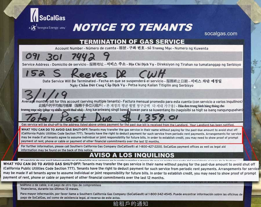 Shutoff notice to 152 Reeves tenants (part)