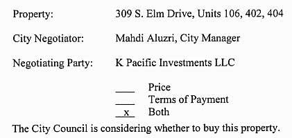 309-325 South Elm purchase via closed session agenda