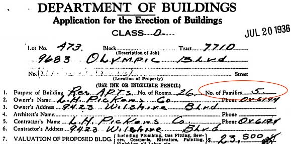 9683 West Olympic building permit (1936)