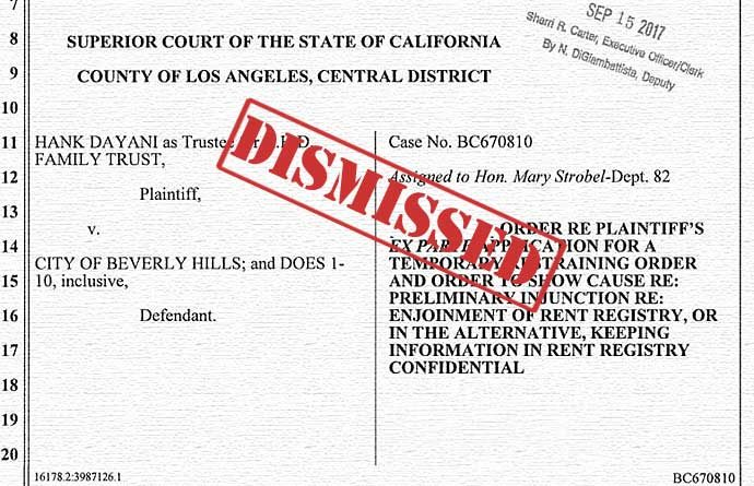 Dayani case BC670810 filing (dismissed)