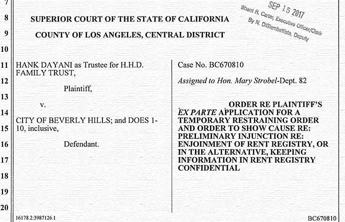 Dayani case BC670810 filing 2017-9-15