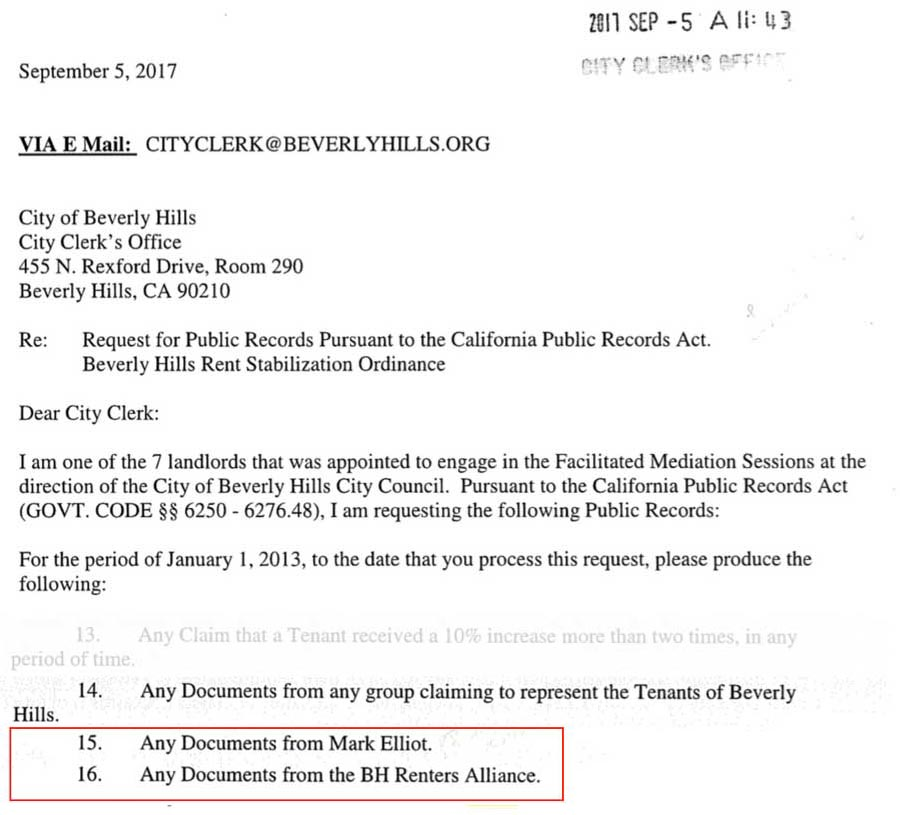 Harvey Miller public records request excerpt: Mark Elliot