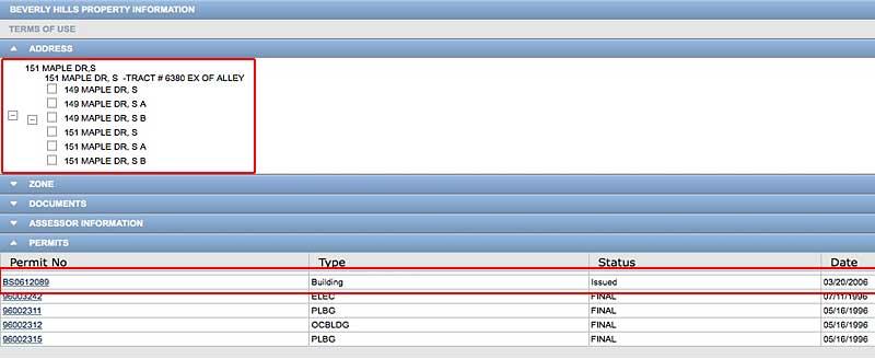 151 S Maple OBCPI search address range and permits