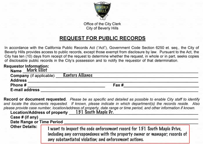 151 S Maple Public Records Act request example