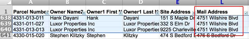 Dayani properties sorted by titles street address