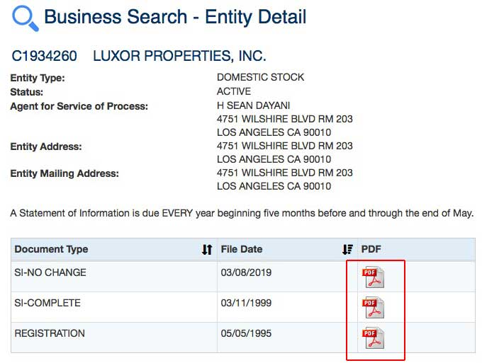 Luxor Inc SOS record registration forms detail