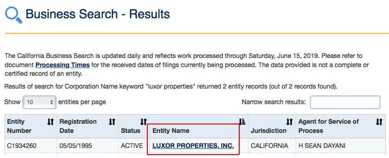 Luxor Inc SOS search return