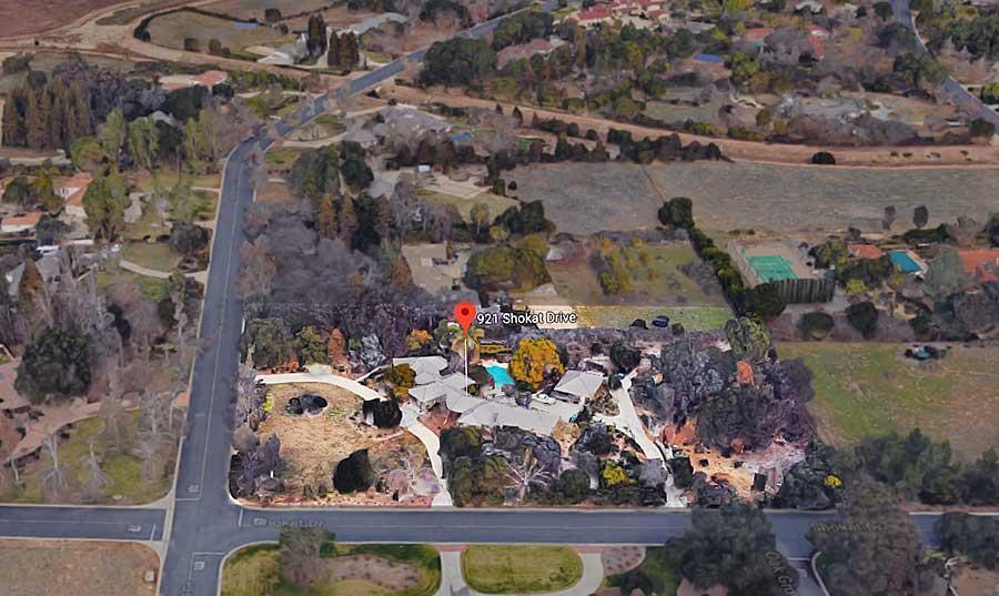 921 Shokat Drive aerial view