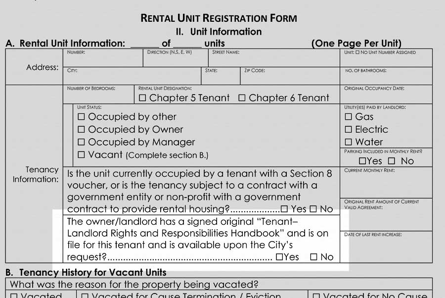 Rental unit registration form (Handbook requirement)