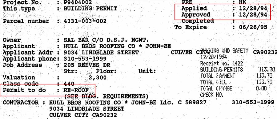 205-207 S Reeves roofing permit 1994