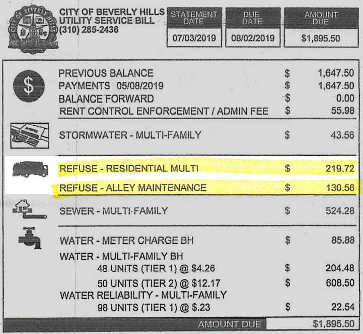 Utility bill with alley and refuse fees highlighted