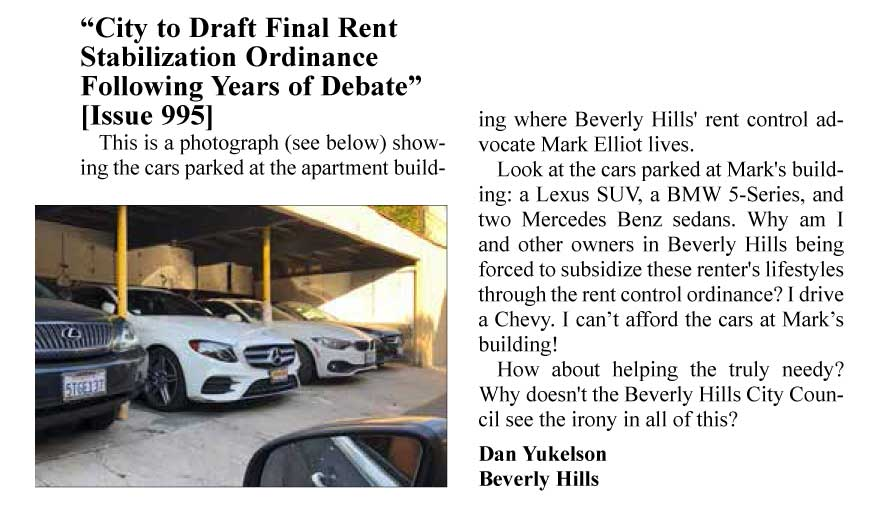 "Yukelson letter: ""This is a photograph showing the cars parked at the apartment building where Beverly Hills' rent control advocate Mark Elliot lives. Look at the cars parked at Mark's building: a Lexus SUV, a BMW 5-Series, and two Mercedes Benz sedans. Why am I and other owners in Beverly Hills being forced to subsidize these renter's lifestyles through the rent control ordinance? I drive a Chevy. I can't afford the cars at Mark's building!"""