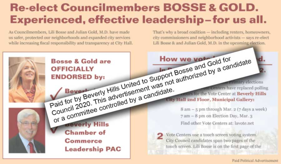 Bosse-Gold PAC ad in Beverly Hills Courier