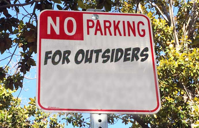 no parking for outsiders sign