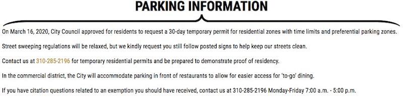 Covid webpage parking blurb