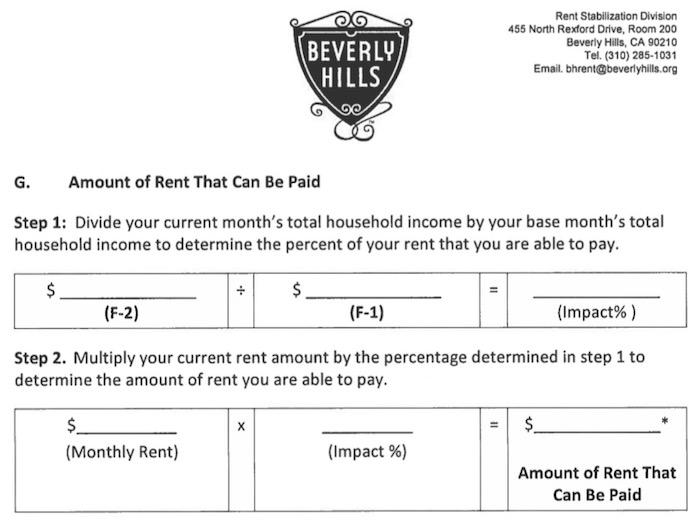 Partial rent calculator from eviction moratorium form