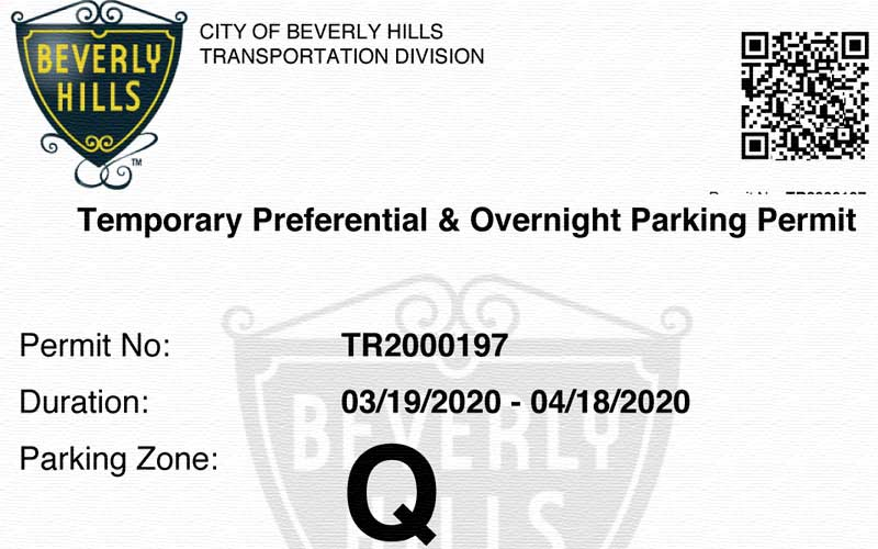 Temporary Overnight Parking Permit
