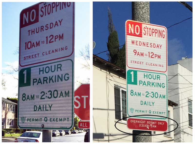 Overnight parking signs compared
