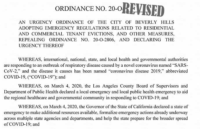 Covid-19 urgency ordinance revised