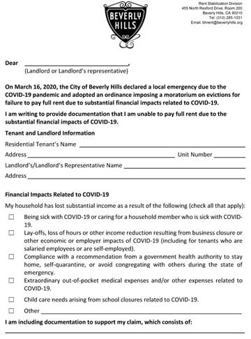 Moratorium Rent Reduction Form illustration