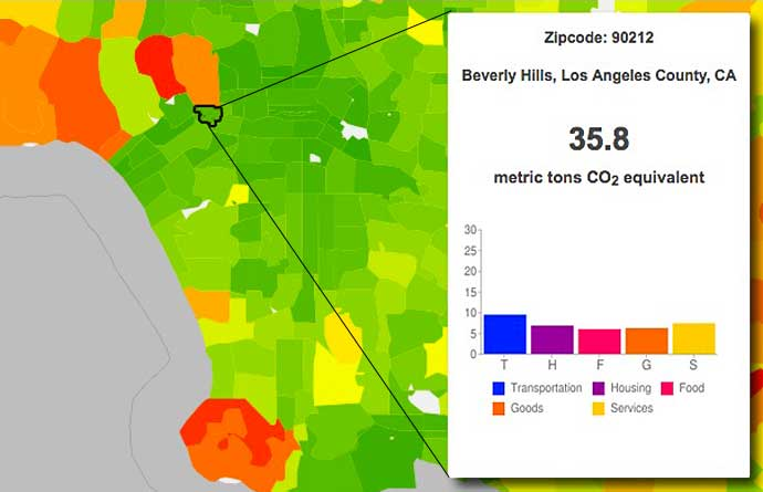 Christopher Jones and Daniel Kammen calculate the carbon footprint for Beverly Hills 90212