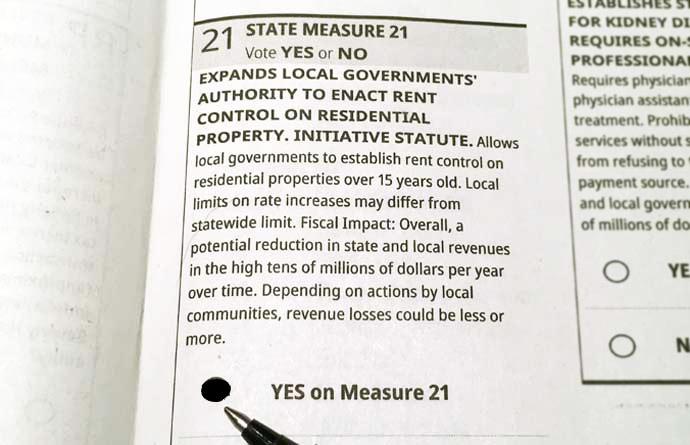 Measure 21 ballot