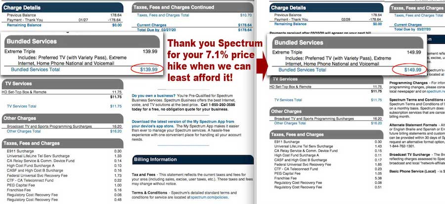 Spectrum rate hike March 2020
