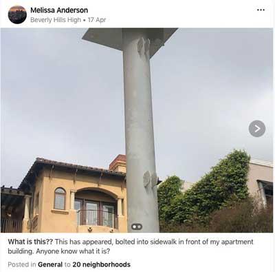 Nextdoor discussion thread about Metro pole