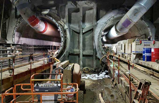 Wilshire-Fairfax station tunnel tubes