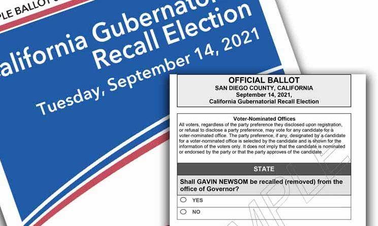 Newsom recall election ballot